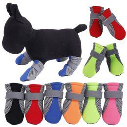 $enCountryForm.capitalKeyWord Australia - Dog Boots Pet Shoes Mesh Shoe Breathable Reflective Straps 4pcs Per Set Soft Sole Colors Mix 7lc F1