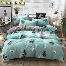 queen quilt orange green NZ - Nordic Brief Bedding Set Pillow Case Leaf Pattern Duvet Cover Sets Quilt Covers Single Double Queen King Bedclothes Pillowcover