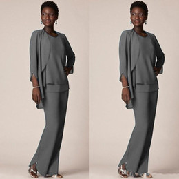 $enCountryForm.capitalKeyWord Australia - Grey Chiffon Formal Pant Suits For Mother Groom Dresses Evening Wear Long Mother of the Bride Dresses with Jackets Plus Size Custom Made