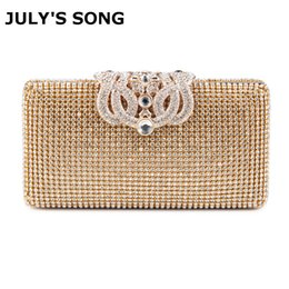 Wholesale Women Evening Bags Rhinestones Metal Crown Handbags Full Of Diamonds Day Clutches Purse Evening Bags Silver gold black Y19051702