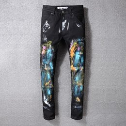 $enCountryForm.capitalKeyWord NZ - New Italian style trendy painted jeans street graffiti heavy craft jeans stretch skinny jeans men's thin black trousers