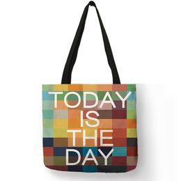 $enCountryForm.capitalKeyWord Australia - Ladies Girls Colorful Tote Bag Heart Number Letter Geometry Print Shopping Handbags Fashion Recycle Teenager Beach Shoulder Bags