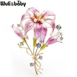 CzeCh brooCh online shopping - Wuli baby Pink Blue Flower Brooches Women Czech Rhinestone Flower Weddings Brooch Pins Gifts