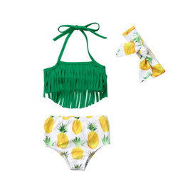 Swimwear Infant Australia - Baby Girl Swimwear Summer Infant Kid Clothes Bikini Toddler Tassel Top+Pineapple Shorts+Headband Swimsuit Beachwear Bathing Suit