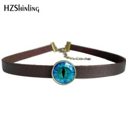 photo eye 2019 - 2017 New Cat Eye Leather Necklace Dragon Eye Pendant Glass Photo Jewelry Leather Choker Necklace For Women discount phot