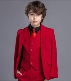 Formal vest boys online shopping - Red Boys Formal OccasionTuxedos Notch Lapel Two Button Kids Wedding Tuxedos Child Suit Holiday clothes Jacket Pants Tie Vest