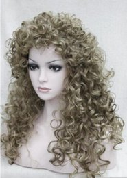 """Loose Curls Long Hair Australia - FREE SHIPPING ++ new fashion sexy loose curls 24"""" long lightest brown mix synthetic hair full wig"""
