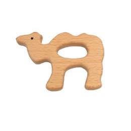 cartoons nursing UK - Wooden Camel Teethers Nature Baby Teething Toy Organic Wood Teething Holder Nursing Baby Teether elephant animal Soothers Party Favor