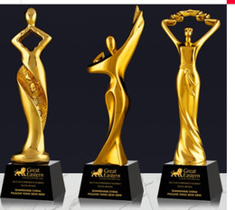 $enCountryForm.capitalKeyWord Australia - Gleaming and charming Dancing with lot of enthusiasm card Gold-plated Resin small decoration trophy crafts Free engraving World Cup