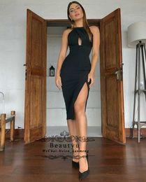 $enCountryForm.capitalKeyWord NZ - Black Short Cocktail Dresses 2019 Sexy Mermaid Side Split Keyhole Neck Cheap Keen Length Satin Prom Party Dress Women Formal Gowns
