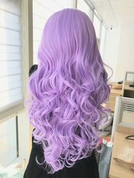 Cosplay Lace Heat Wig Australia - Hot Synthetic Lace Front Wigs Body Wave Heat Resistant Purple 7 Color in Stock 24 Inch Glueless 180% Density Cosplay Wigs For Women