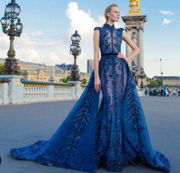 $enCountryForm.capitalKeyWord NZ - Evening dress A-Line High Collar Sleeveless Tulle Sequins Crystal Royal Blue Classic Customizable in any size Modern 1 Customizable