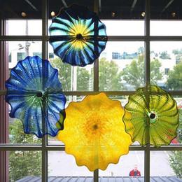 Diseño italiano Florero soplado para casas Lámparas de flores turcas artes Placas de cristal de colores manchados Murano Luces de pared en venta