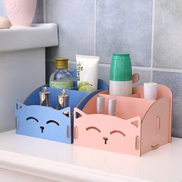 Wholesale Cute cat DLY Assembly desktop Office organizers Storage Box Bathroom Wood Plastic Shelf Cable Storage makeup holder Home