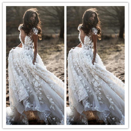 $enCountryForm.capitalKeyWord UK - Bohemian A Line Wedding Dresses V Neck Cap Sleeve Appliques 3D Flower Country Wedding Gowns Puffy Skirt Tulle Party Dress robe de mariee