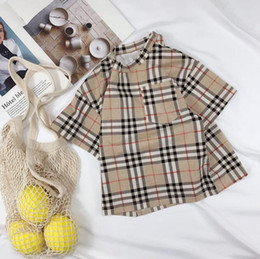 $enCountryForm.capitalKeyWord Australia - High quality brand design summer new children's t-shirt boys plaid short-sleeved girls baby clothing cotton breathable khaki free shipping