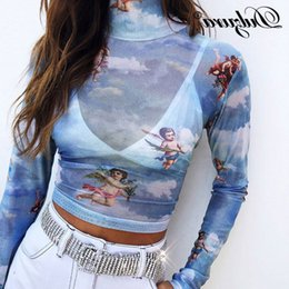 Women's Clothing Hirigin New Women Cartoon Moon Sun Print Blouses 2019 Sheer Mesh Crop Tops Perspective Hollow Out Tee Basic Slim Blouse
