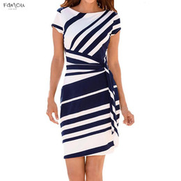 Wholesale formal office pencil dress resale online - Office Striped Lady Pencil Dress Women Short Sleeve Bodycon Formal Party Dresses With Belt Casual Mini Vestidos Dress Designer Clothes