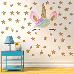 girls nursery decorations UK - Unicorn Poster Baby Girl Nursery Wall Art Diy Nordic Kids Room Decoration Wall Sticker Theme For Girls Cartoon Design Removable Wallpaper