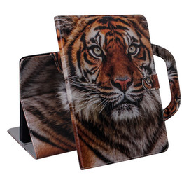 Stands For Tablets UK - Tablet Case For Samsung Galaxy Tab A 10.1 inch 2019 T510 T515 Handle Flip Cover Stand Leather Wallet Coloured drawing Tiger Lion