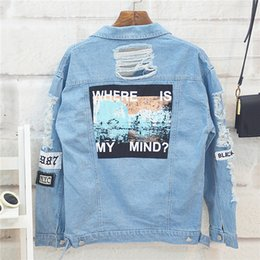 $enCountryForm.capitalKeyWord Australia - Danjeaner Where is My Mind? Korea Retro Washing Frayed Embroidery Letter Patch Bomber Jacket Blue Ripped Distressed Denim Coats Y190917