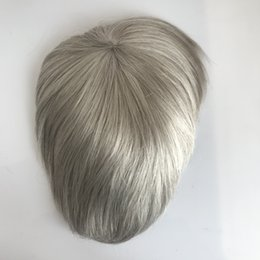 Back Hair Men Australia - Grey Hair Men Toupee Natural Looking Indian Remy Hair Clear Poly Back Human Men Hair Toupee