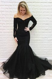 $enCountryForm.capitalKeyWord Australia - Prom Dresses Black Off-the-shoulder Sweep Train Mermaid Brilliant Long-Sleeves Evening Dress Cocktail Party Gowns Black Girls Formal Gown