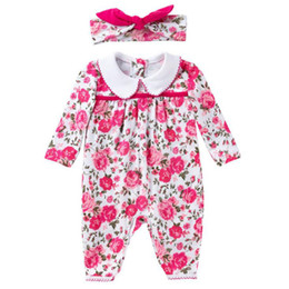 cotton baby coveralls Australia - Spring And Autumn Baby Clothing New Style Rose Long-Sleeve Suit 0-2-Year-Old Female Baby Coveralls 2-Piece Set Wholesale Free Shipping