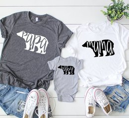 2757ef851 wholesale Papa Baby Mama Bear T-Shirt Matching Family Mom Dad Letter Print Women  Top Short Sleeve Tee T Shirt Plus Size Drop