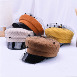 French Female hat online shopping - 2018 Retro High Quality Net yarn Corduroy Elegant Beret Solid Newsboy Octagonal Hat Women Cap For Female The French Artist Beret