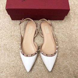studded flats NZ - 2020 new sexy fashion lady Women Rivet spikes shoes dress shoes white Patent Leather Pointed Toe rock Studded valentine flats loafers pumps