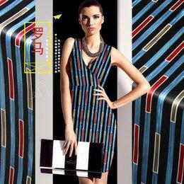 $enCountryForm.capitalKeyWord Australia - Lines Print Blue Red Silk Fabric By Meter Width 46 Inch Elastic Material Vintage Rome