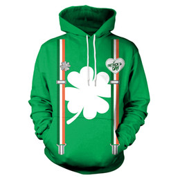 Brand dhl clothing online shopping - St Patrick s Day Hoodies new brand couple sweater coat loose slim pockets fashion men and women DHL B101
