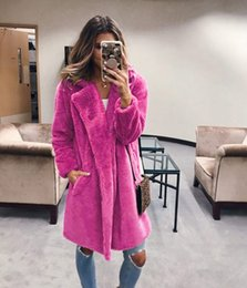 furs wholesale UK - Winter Women Faux Fur Coat Luxury Long Fur Coat Loose Lapel OverCoat Jacket Thick Warm Plus Size Female Plush