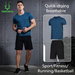 $enCountryForm.capitalKeyWord Australia - Vansydical Mens Running Sports Suits 2pcs Set Fitness Short Sleeve Shorts Sportswear Men Training Suits Jogging Hooded Jacket