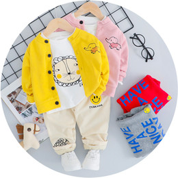 $enCountryForm.capitalKeyWord Australia - Baby Boy Girl Clothes Suit Letter Jacket + T-shirt + Pants 3 Pieces Kid Fall Costume 4 Color Children Clothing Set Boy Clothes 1-4 Years