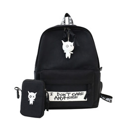 cute backpacks for high school NZ - 2 Pcs Set Middle School Bags Girls Cute Backpack Black School Bags For Teenage College Wind Women Schoolbag High Student Bag Y190530