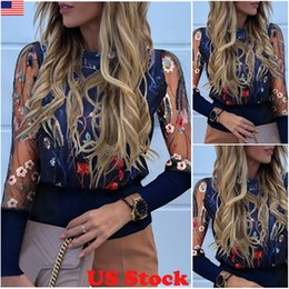 Wholesale chic t shirts for sale – custom New Arrival Women Ladies Puff Mesh Sleeve Floral Flower Tops Pullover Ladies Elegant Chic Loose Jumper Tops T Shirts