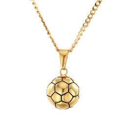 $enCountryForm.capitalKeyWord Australia - New Fashion Personality Stainless Steel Gold Football Pendant Cuban Chain Necklace Hip Hop Raper Jewelry Gifts for Men and Women for Sale