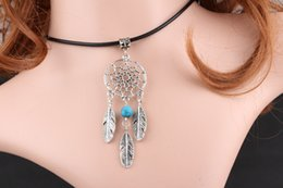 Feather Bead Pendant Australia - 5 Color Vintage Silver Feather Dreamcatcher Necklace Pendant Stone Opal Bead Collar Choker Friendship Necklace Fashion Women Jewelry Hot