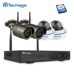 kit camera dome UK - viewing system Techage 4CH 1080 Wireless NVR Wifi CCTV System 1MP 2MP Dome Indoor Outdoor IP Camera P2P Video Security Surveillance Kit 2TB