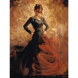 Flamenco Paintings Australia - Hand painted woman oil paintings Flamenco II canvas art for wall decor