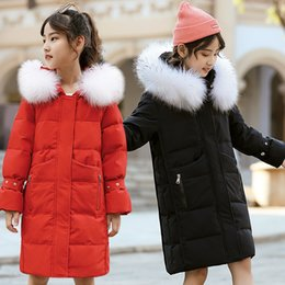 Discount children fur parka - Children Girls Winter Down Jacket 2019 New Fur Hooded thin Long Kids Girl clothes Coat Warm Parka Teenage Outwear 11 12
