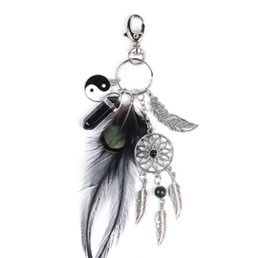 China 2019 European and American popular natural black agate crystal alloy tassel keychain ladies key ring accessories suppliers