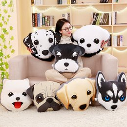 husky plush pillow UK - Creative personality 3D dog huskies plush toys Home Furnishing cushion and pillow hand warmer Doll Girl Gift