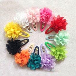 $enCountryForm.capitalKeyWord Australia - Sale 2 PCS Fashion Cute Flower Pumpkin Kids Hairpins Girls BB Hair Clip Hair Accessories Chiffon Ribbon Child Headwear Gift