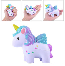 retail wholesales toys Australia - INS Moon Stars Rainbow Color Unicorn Squishy Toys Colorful Horse Slow Rising Kawaii Soft Jumbo Squeeze Phone Charms Stress Reliever