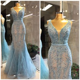 Bridesmaids African Fashion Australia - Luxurious 2019 African Mermaid Prom Dresses V-neck Beaded Feather Illusion Evening Dresses Sexy Fashion Formal Party Bridesmaid Pageant Gown