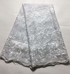Wedding Dress Lace Fabrics Yard Australia - Hot sale wedding dress 3D floral bud silk fabric 2018 new 5 yards African lace high quality French lace