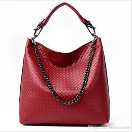 Big Chains Australia - Nice New Fashion Pop Tied Ladies Hand Bags Single Shoulder Bag Tote Bags Diamond Lattice Chain Big Capacity Bucket Pu Leather Handbags